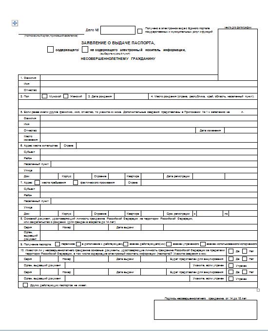 Анкета на загранпаспорт старого образца для несовершеннолетнего « width=»550