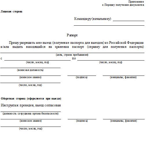 Пример рапорта на выезд за границу