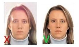 Неровное освещение дает отблеск на лицо в фото на паспорт