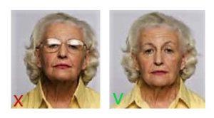 Стекла очков блестят в фото на паспорт