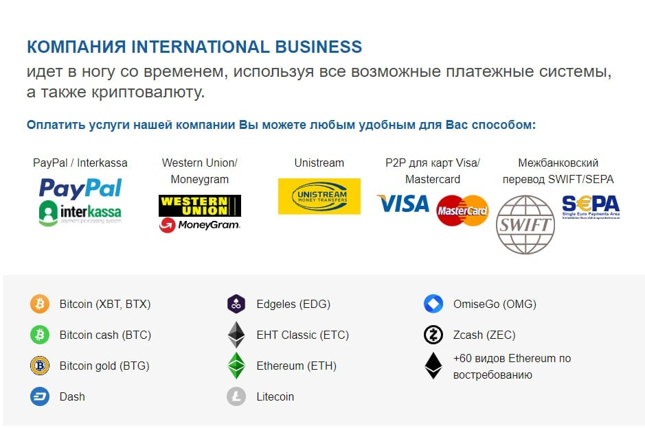 Перечень форм оплаты услуг компании International Business