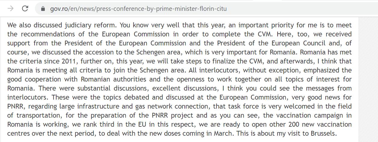 Заявление премьер-минимтсра о выполнении рекоммендаций ЕС